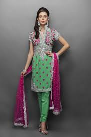 green georgette suit with silver u0026 pink embroidery a very