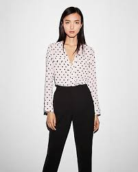 black and white blouse polka dot sleeve zip front blouse express
