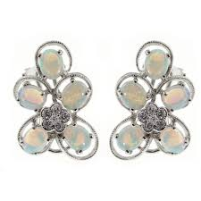 white opal earrings 14ct white gold opal u0026 diamond flower cluster stud earrings