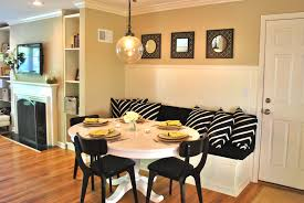 Kitchen Table Ideas by Dining Room Exciting L Banquette Seating With Round Dining Table