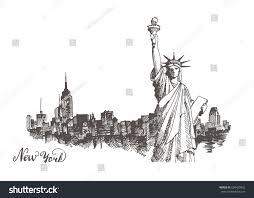 new york city architecture statue liberty stock vector 604429892
