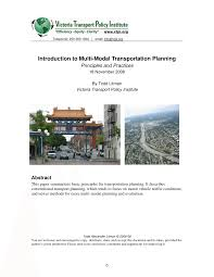 introduction to multi modal transportation planning