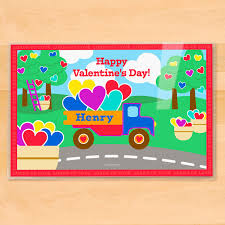 valentine s day valentine u0027s day truck personalized kids placemat art appeel