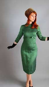 vintage 1950s sharkskin green wiggle dress mad men fashion day