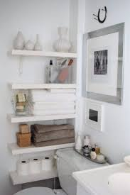 small bathroom shelving ideas white polished wooden wall mount