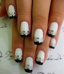 cool nail polish ideas with white base dark tips and silvery grey