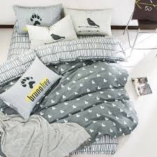 grey heart print duvet cover set 100 cotton bed linens for s twin queen multi size bedding set quilt cover coverlet in bedding sets from home