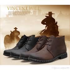 vintage men boots crazy genuine leather martin men autumn winter