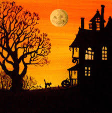 halloween 4x4 print of painting ryta halloween folk art black