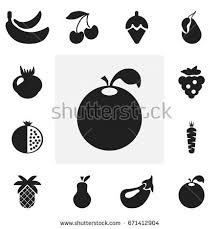 editable fruit fruit vegetable icons stock vector 255971047