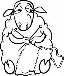 knitting sheep coloring u2014 stock vector izakowski 39749427