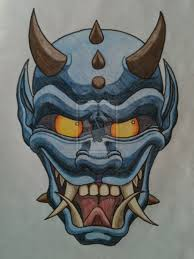 japanese u0027oni u0027 mask tattoo i designed as a stomach tattoo for