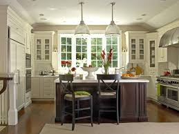 modern country kitchen u shape design with white cabinet and dark