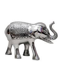 Elephant Statue Aluminium Silver Indian Elephant Ornament Homescapes