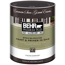 Interior Paint Colors Home Depot by Behr Premium Plus Ultra 1 Qt White Semi Gloss Enamel Exterior