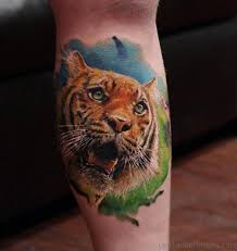 36 excellent tiger tattoos on leg