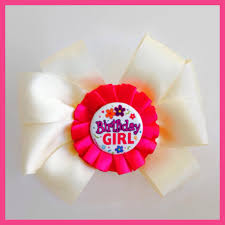 birthday girl pin happy birthday hot pink beige hair bow clip button pin