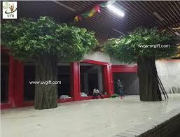 green outdoor artificial banyan tree with fiberglass trunk