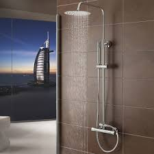 exposed shower kits showers shower baths product home garden model s2 thermostatic shower mixer complete units chrome bathroom with twin head round
