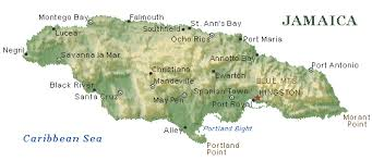 jamaica physical map jamaica terrain features size and population fiwi roots