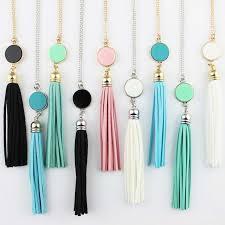 long boho pendant necklace images Monogram acrylic blank disc long chain pendant boho tassel jpg