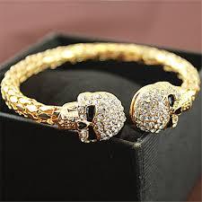 bracelet gold skull images Vintage gold color bangle jewelry skull with rhinestone skeleton jpg