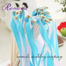 ribbon sticks free shipping blue white stain ribbon sticks for wedding party in