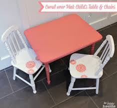 kids art table and chairs coral over pink chalky paint child s table and chair set the happy