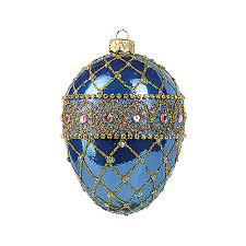 faberge inspired blue renaissance egg ornament crane