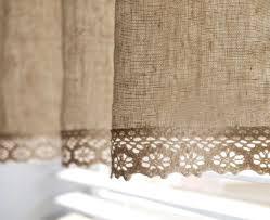 Lace Trim Curtains Linen Cotton Blend Cafe Curtain Valance With Cotton