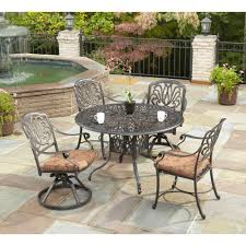 Patio Furniture Cushions Home Depot - home styles floral blossom 48 in round 5 piece patio dining set