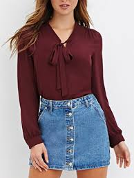blouse with tie neck burgundy tie neck sleeve chiffon blouse shein abaday