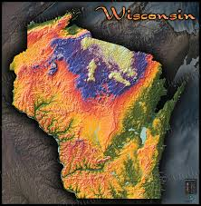 Map Of Northern Wisconsin by Wisconsin Topography Map Colorful 3d Physical Features