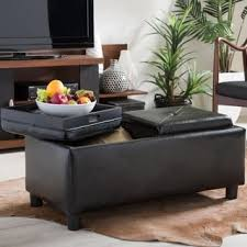 maxwell brown bonded leather double tray ottoman by christopher