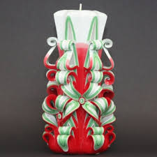 christmas tree carved candle christmas gifts red candles