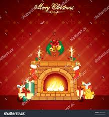 festive christmas cartoon home interior stock vector 66516445