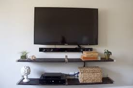 tv wall using ikea ekby shelf end brackets and connecting bracket