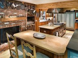 Kitchen Pan Storage Ideas by Brick Wall Country Kitchen Brick Fireplace Natural Varnished