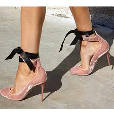ribbon heels 2017 new fashion women pumps pink velvelt leather ankle lace up