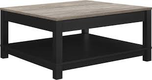 black square cocktail table amazon com ameriwood home carver coffee table black kitchen dining