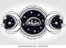 handdrawn allseeing eye on circle two stock vector 631741481