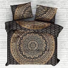 black gold ombre mandala comforter cover twin bedding throw indian