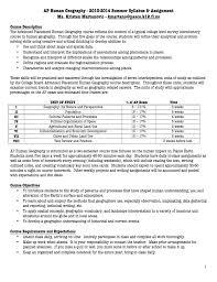 ap human geography 2013 2014 summer syllabus u0026 assignment