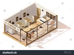 vector isometric low poly coffee shop stock vector 640448071