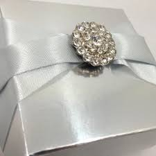 wedding favor boxes wholesale embellished wedding favor box in metallic silver with