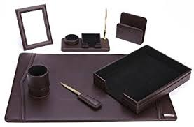 Brown Leather Desk Accessories Office Supply Eco Friendly Leather Desk Set 93 Dsn7