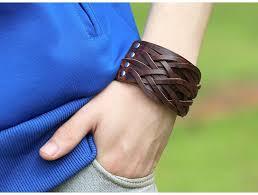 leather cuff wrap bracelet images Wide genuine leather cuff wrap punk rock mens bracelets leather jpg