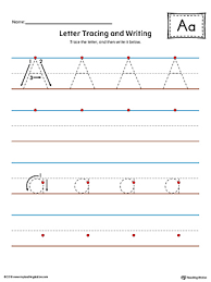 letter a tracing and writing printable worksheet color