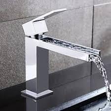 single handle hole finish chrome waterfall bathroom sink faucet
