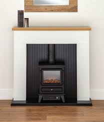 electric fire stove oak mantle white and black fireplace surround